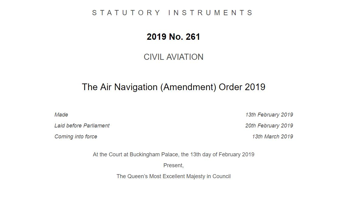 The Air Navigation (Amendment) Order 2019